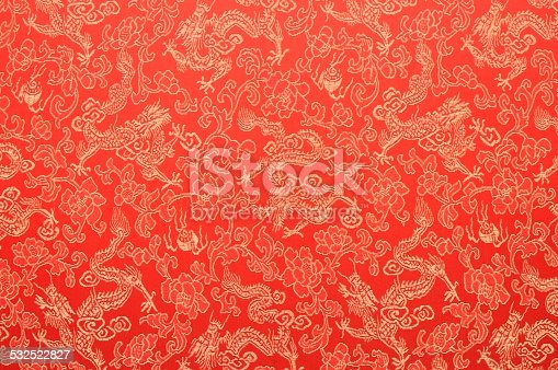 istock Fragment of red chinese silk with golden dragons and flowers 532522827