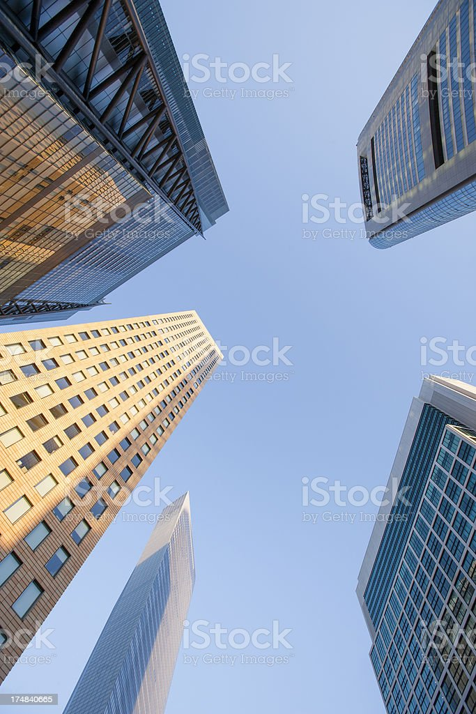 Fragment of sky and skyscrapers in Tokyo. royalty-free stock photo