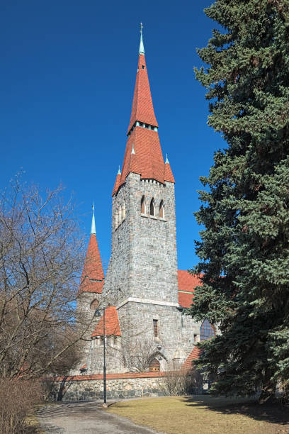 Fragment of Tampere Cathedral, Finland stock photo