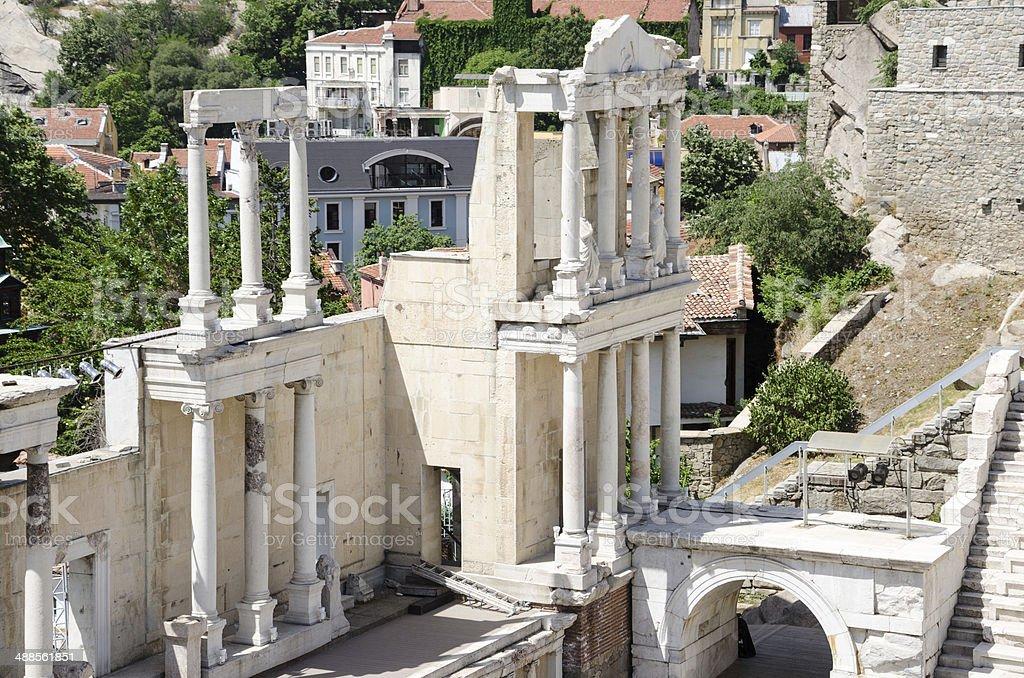 Fragment of the ancient Roman amphitheater, Plovdiv, Bulgaria stock photo
