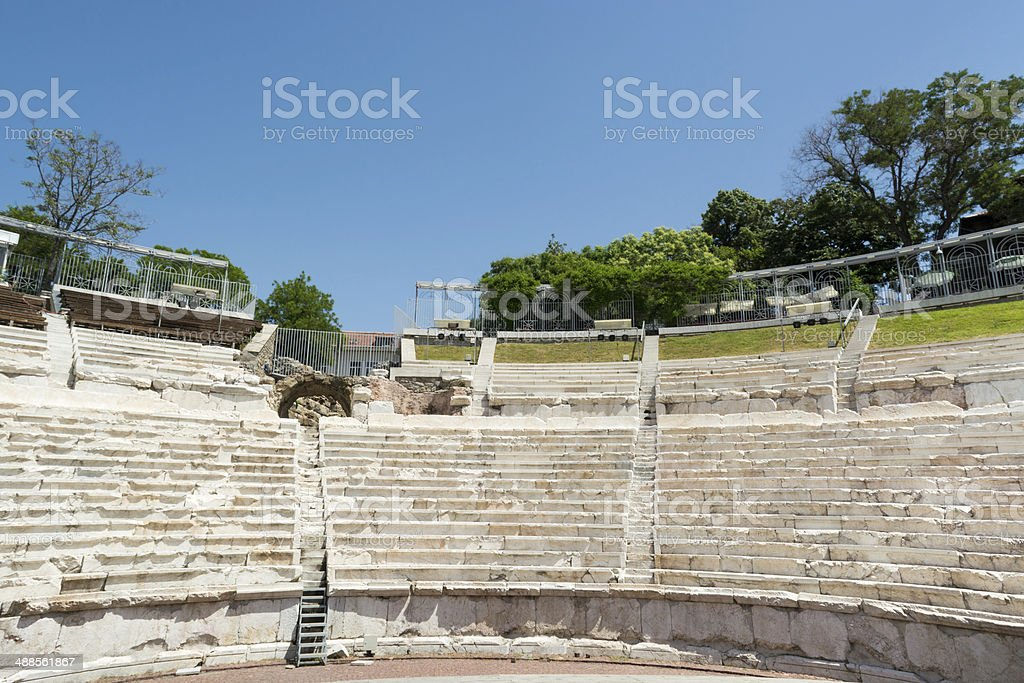 Fragment of the ancient Roman amphitheater, Plovdiv, Bulgaria royalty-free stock photo