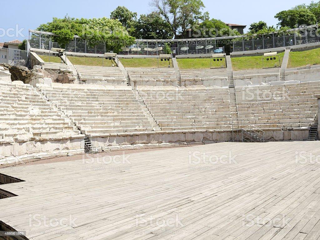 Fragment of the ancient Roman amphitheater, Plovdiv, Bulgaria royalty-free stock photo