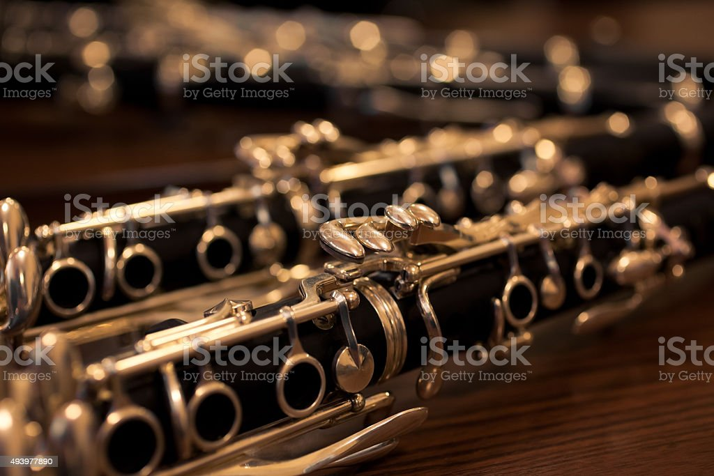 Fragment of the clarinet stock photo