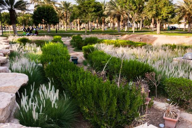A fragment of the Diriyah Park landscape design, Riyadh stock photo