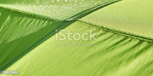 partially blurred fragment of the dome of a hiking tent, covered with dew in the early morning