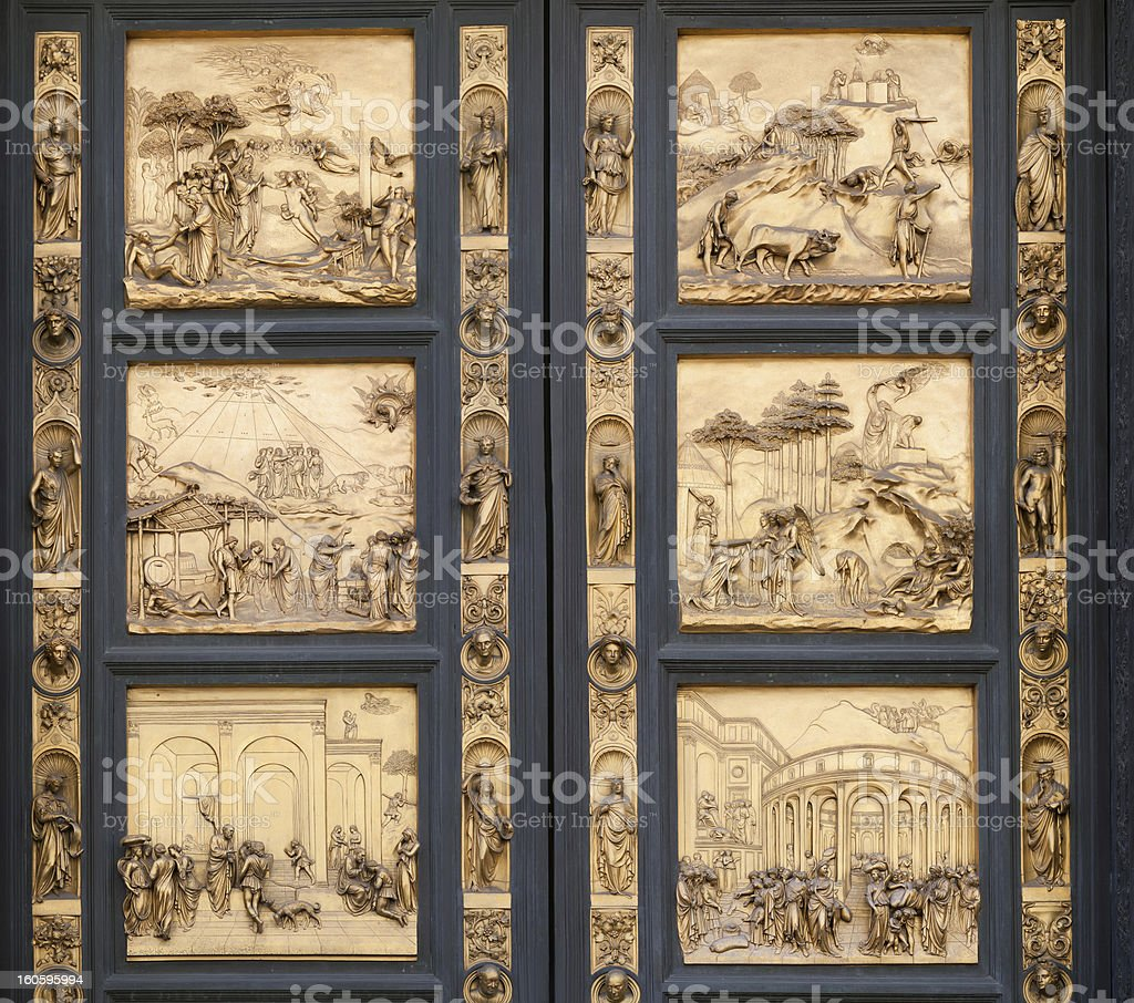Fragment of the Florence Cathedral Baptistery doors stock photo