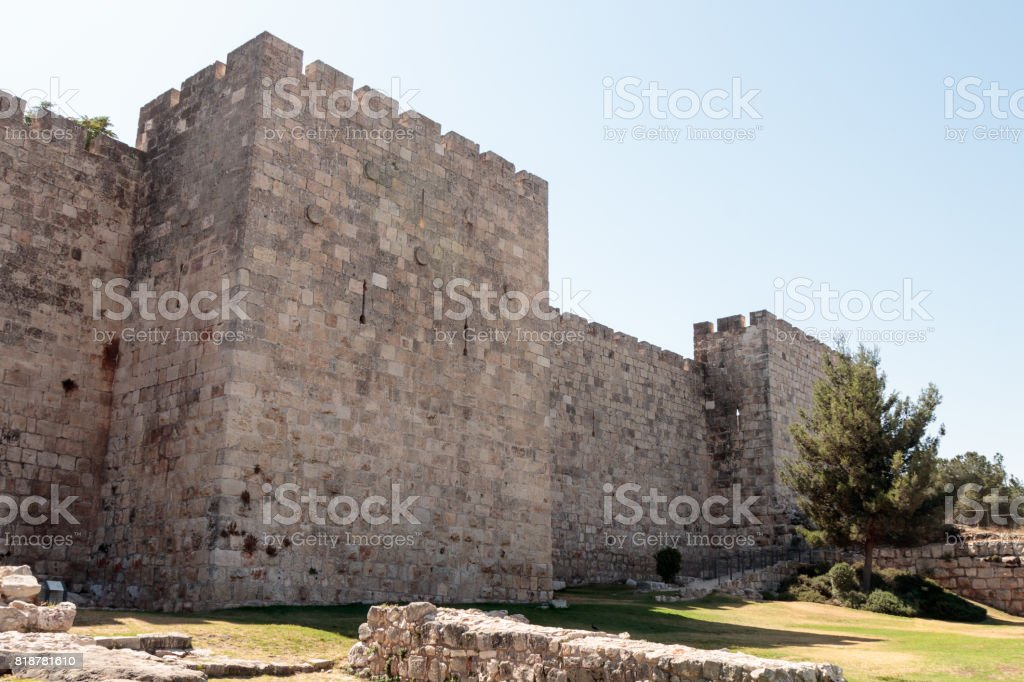Fragment  of the fortress walls near to the Jaffa Gate in the old tow in Jerusalem, Israel stock photo