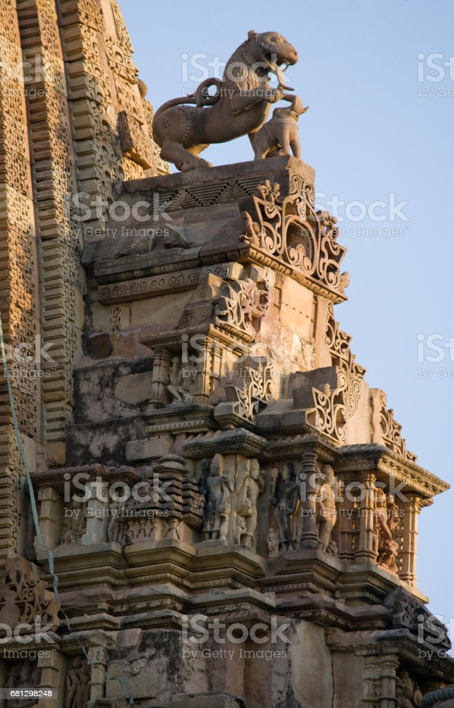 A fragment of the Indian temple of Khajuraho. royalty-free stock photo