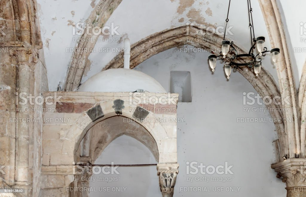 Fragment of the interior of the Room of the Last Supper in Jerusalem, Israel.