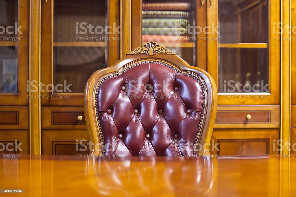 Fragment of the interior of the working cabinet stock photo