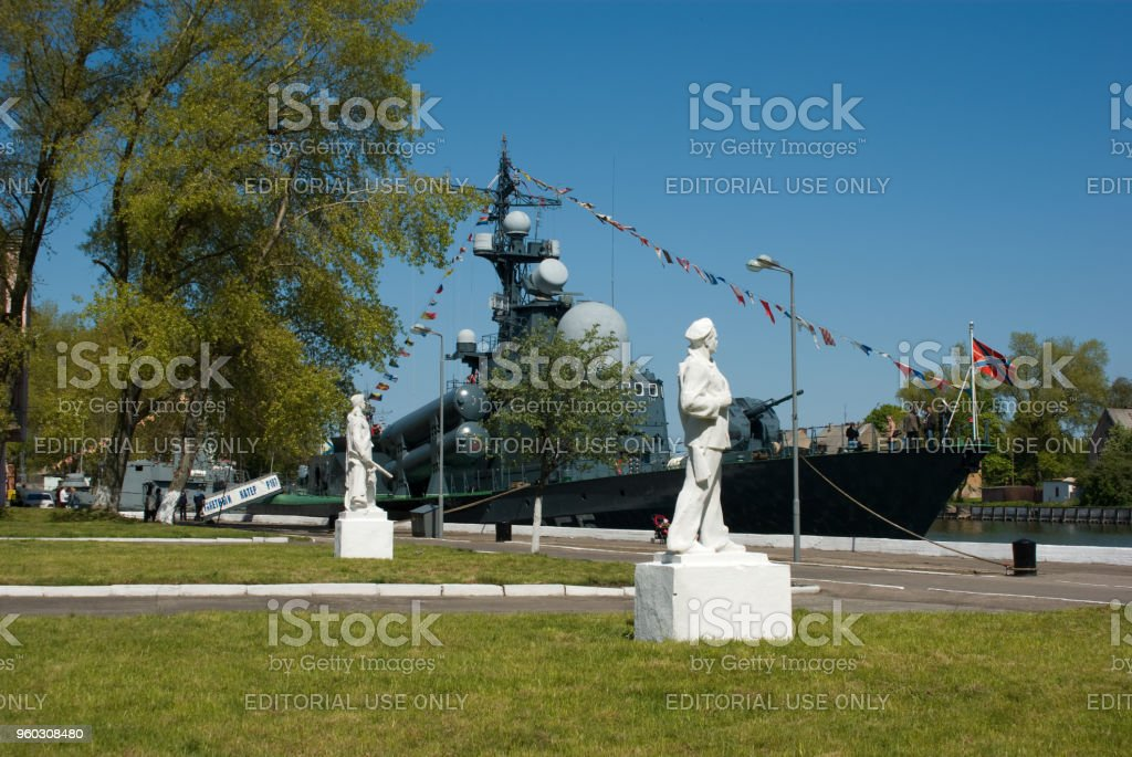 A fragment of the memorial 'Baltic glory' and missile boat R-187 (on-Board 855) stock photo