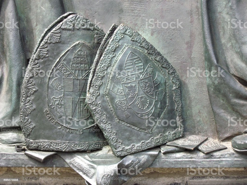 Fragment of the memorial relief about the meeting of Pope Ioannes Paulus PP. II; And Cardinal Joseph Alois Ratzinger in Cologne stock photo