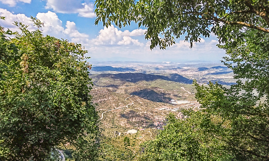 Fragment of the mountain of Montserrat, view down the mountain. Location: 50 km from Barcelona, Spain.