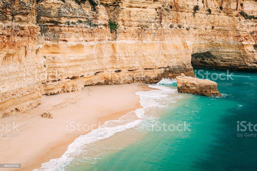 Fragment of the Navy beach in Lagoa, Algarve, Portugal. stock photo