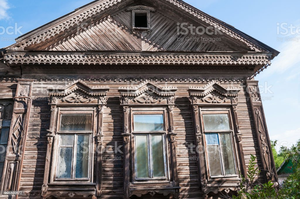Fragment of the old Russian wooden house with elements of jewelry, the times of the Russian Empire
