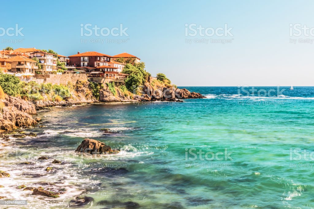 Fragment of the old town of Sozopol, Bulgaria. View of the bay on the Black Sea in the town. stock photo