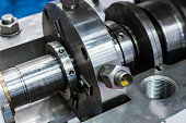 Fragment of the sealing system of the industrial pump. Mechanical seal of industrial pump.