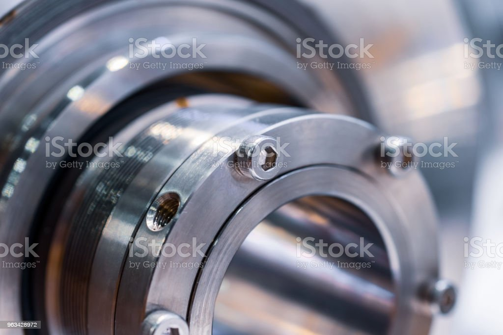 Fragment of the sealing system of the industrial pump stock photo