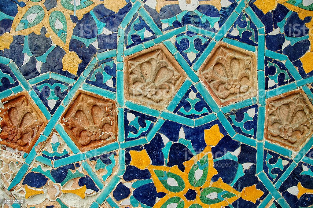 Fragment of tiled wall with Arabic mosaic royalty-free stock photo