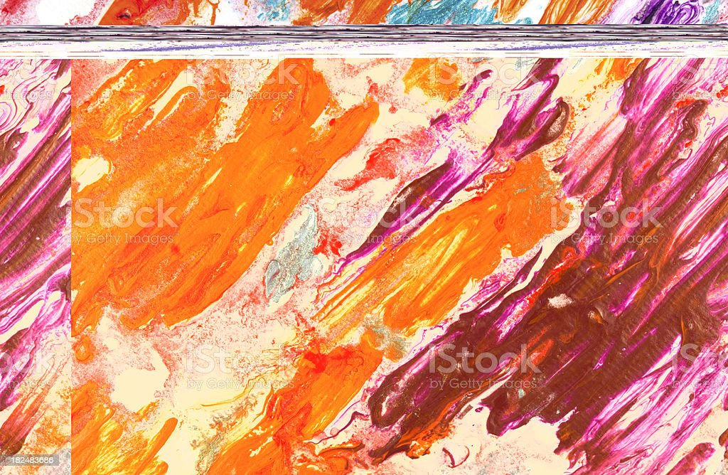 Fragment of violet and orange tempera painted abstract background stock photo