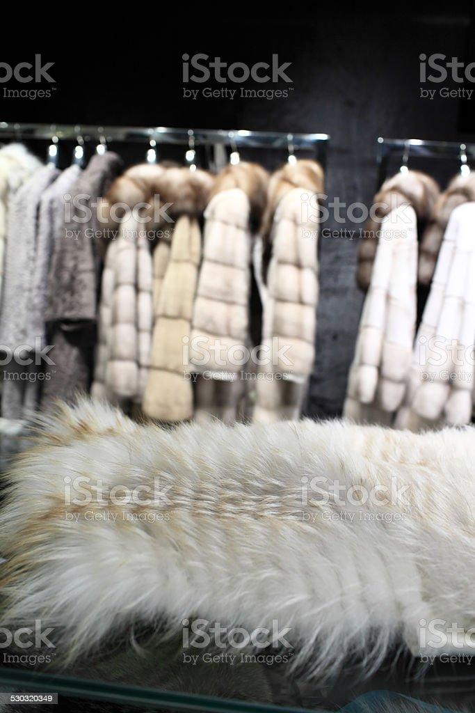 Fragment of white fur stock photo