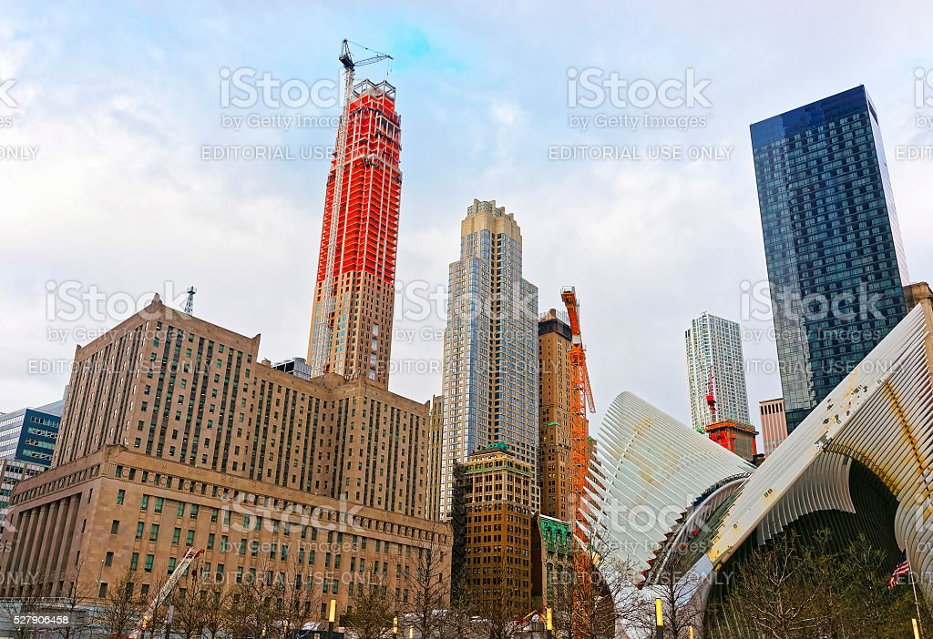 Fragment of wings of WTC Transportation Hub and Financial District stock photo