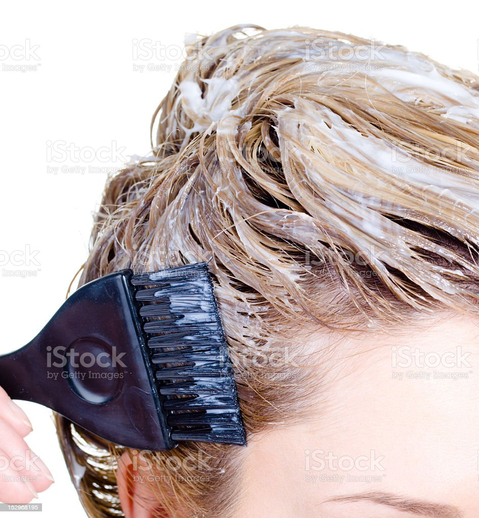 Fragment of woman's head coloring royalty-free stock photo