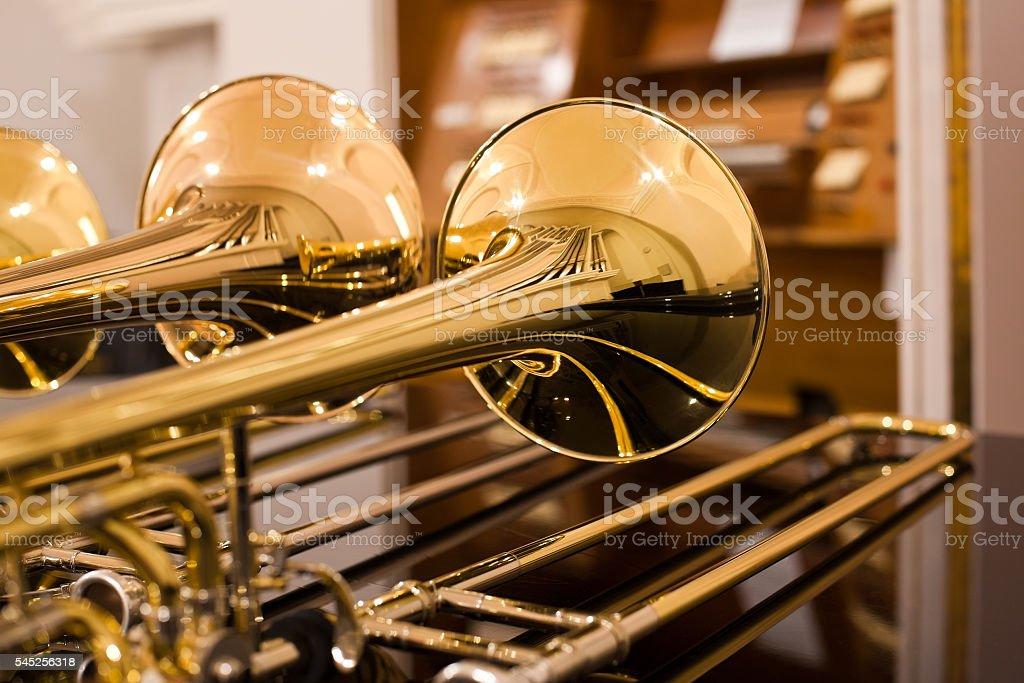 Fragment trombones closeup stock photo