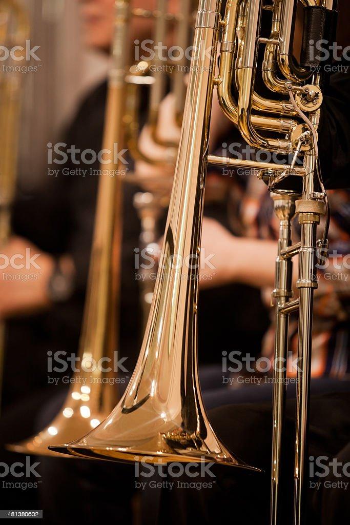 Fragment trombones stock photo