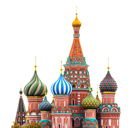 Fragment view of Saint Basil's Cathedral in Moscow on the white background