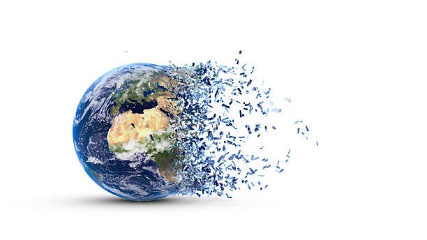 Fragmented earth stock photo