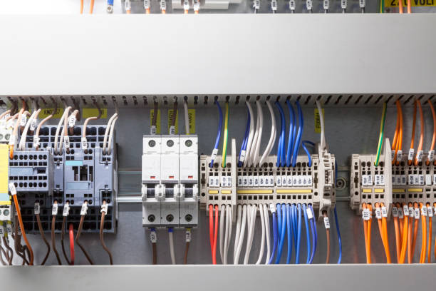 Fragments of circuit in the power control cabinet. stock photo