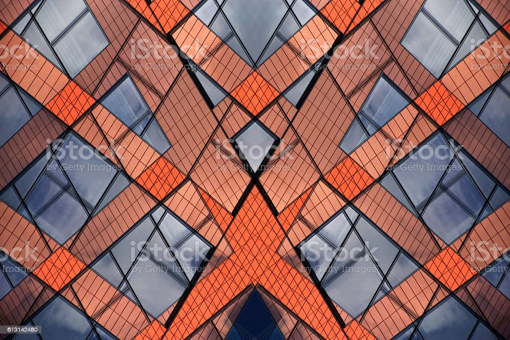 Fragments of city buildings in vivid colors. Double exposure photo stock photo