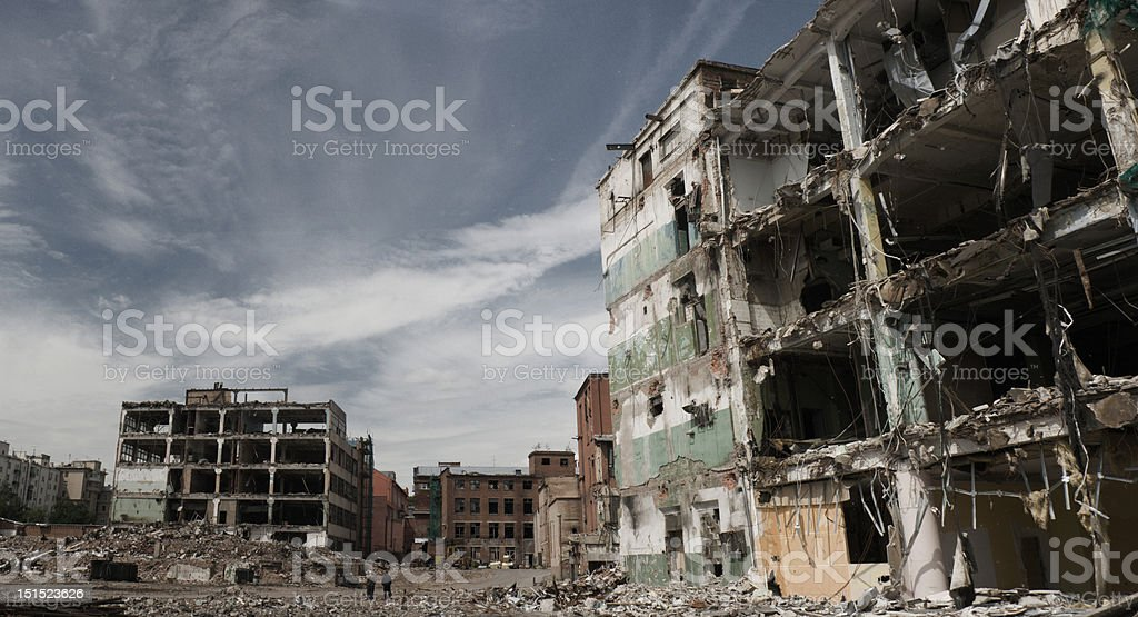 Fragments of partly demolished building stock photo
