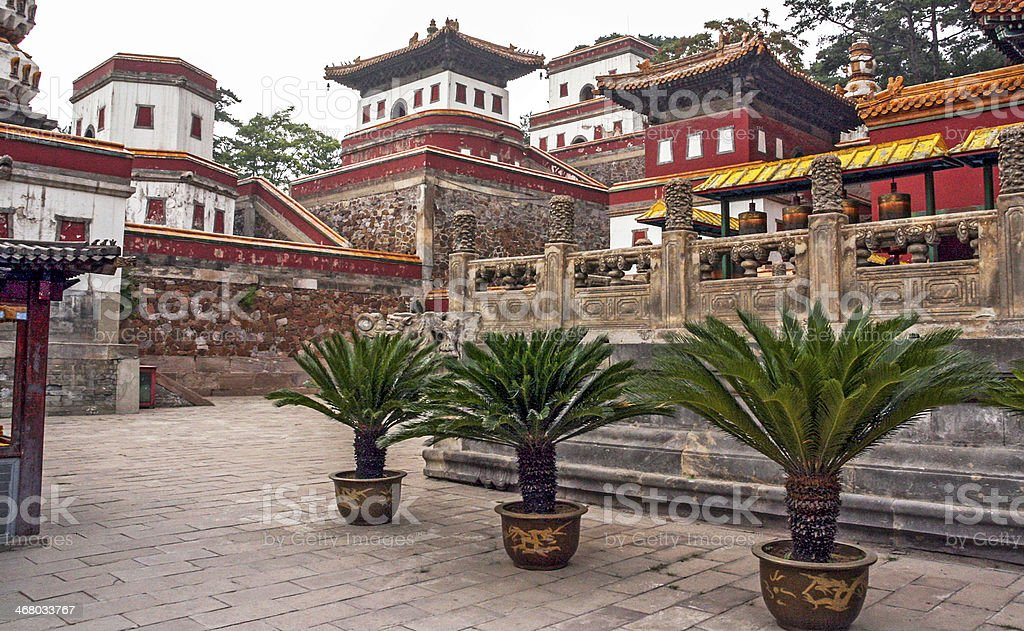 Fragments of the famous Puning temple in Chengde, China stock photo