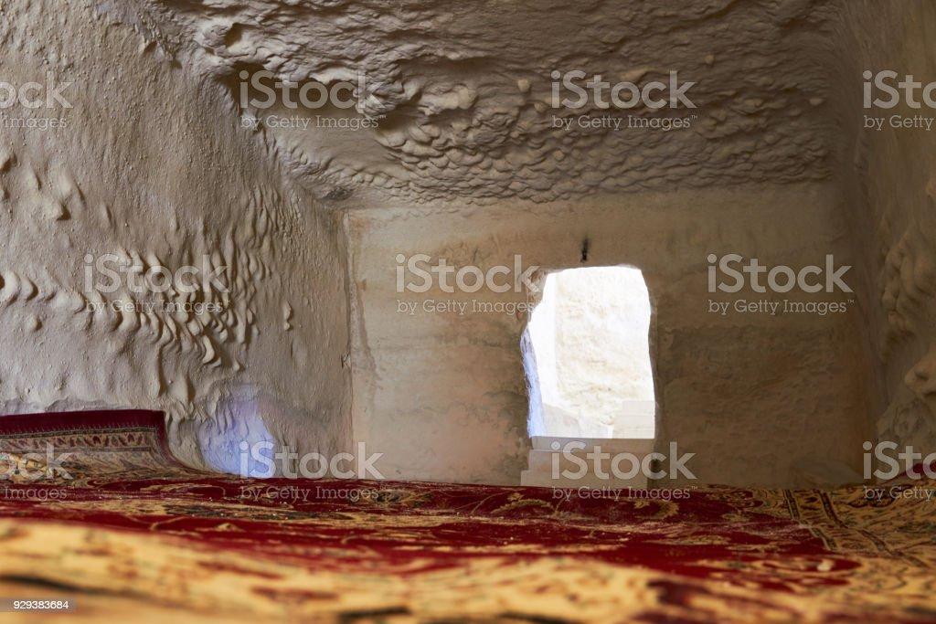 Fragments of the Shakpak Ata underground mosque in the Mangistau region of the Republic of Kazakhstan. stock photo