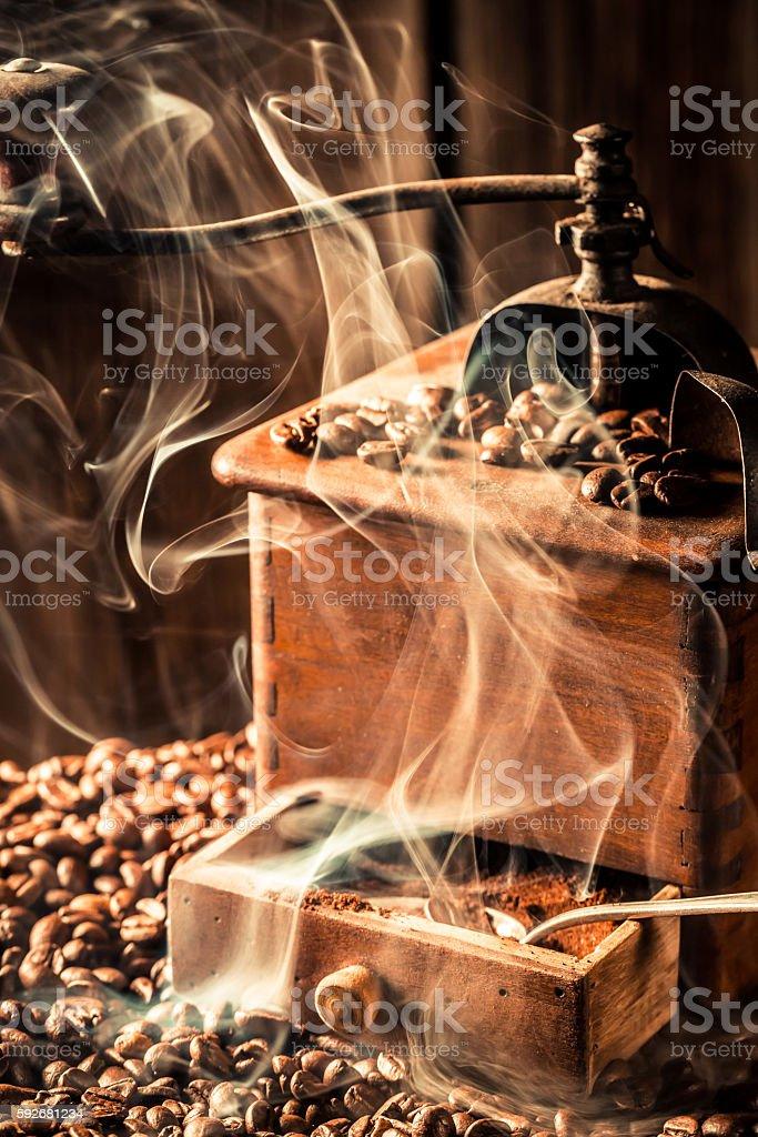Fragrance of fresh coffee grains stock photo