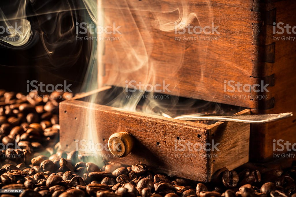 Fragrance of roasted coffee seeds stock photo