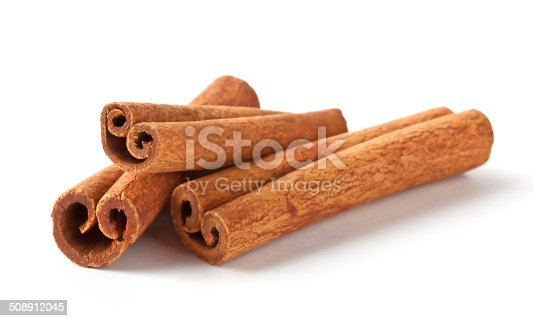 Fragrant cinnamon sticks isolated on white background