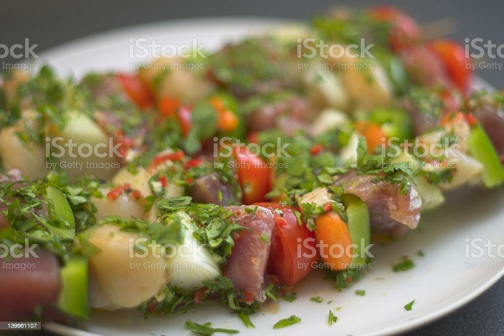 Fragrant Fish Kebabs #1 royalty-free stock photo