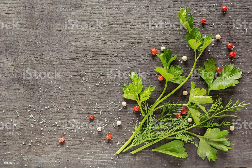 Fragrant fresh parsley and dill arranged on a diagonal  dark stock photo