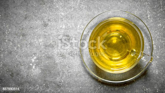 fragrant green tea. On a stone background.