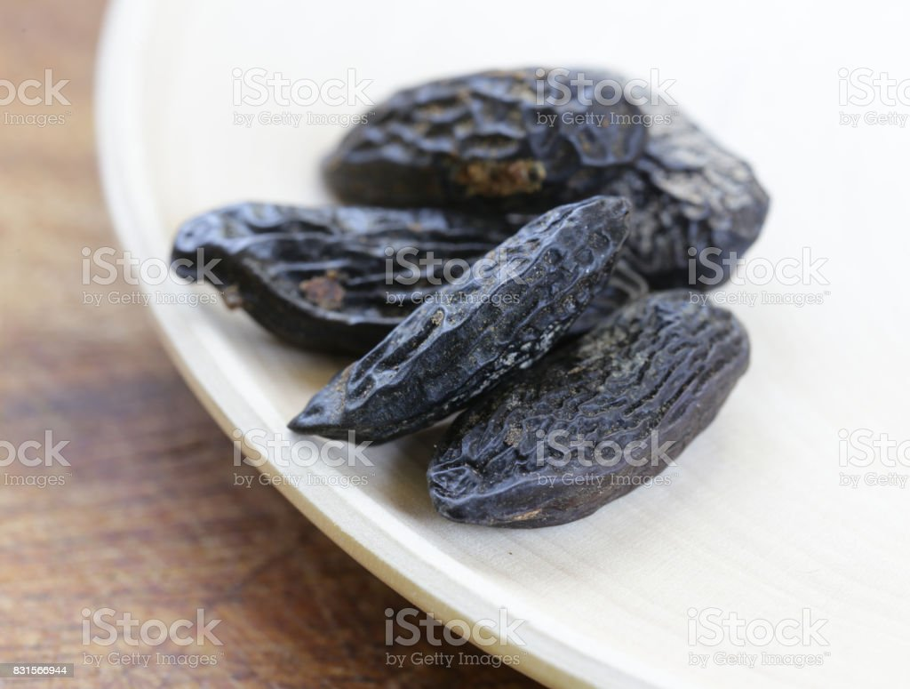 fragrant tonka beans, for baking and desserts stock photo