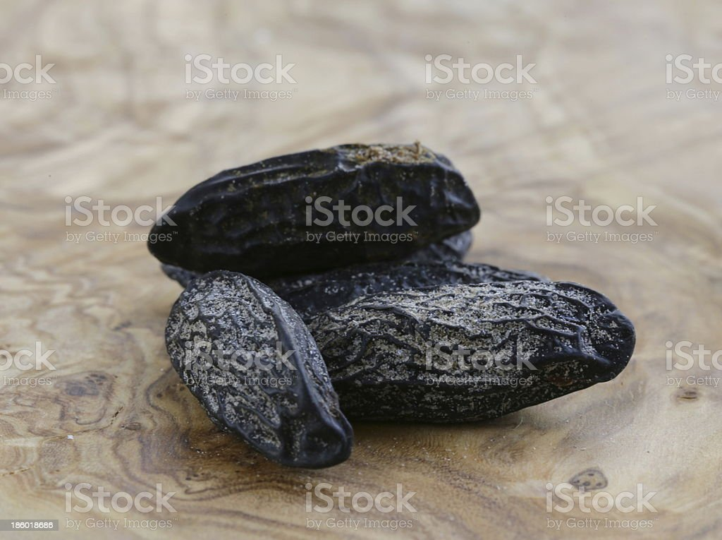 Fragrant Tonka beans used for flavoring baking stock photo
