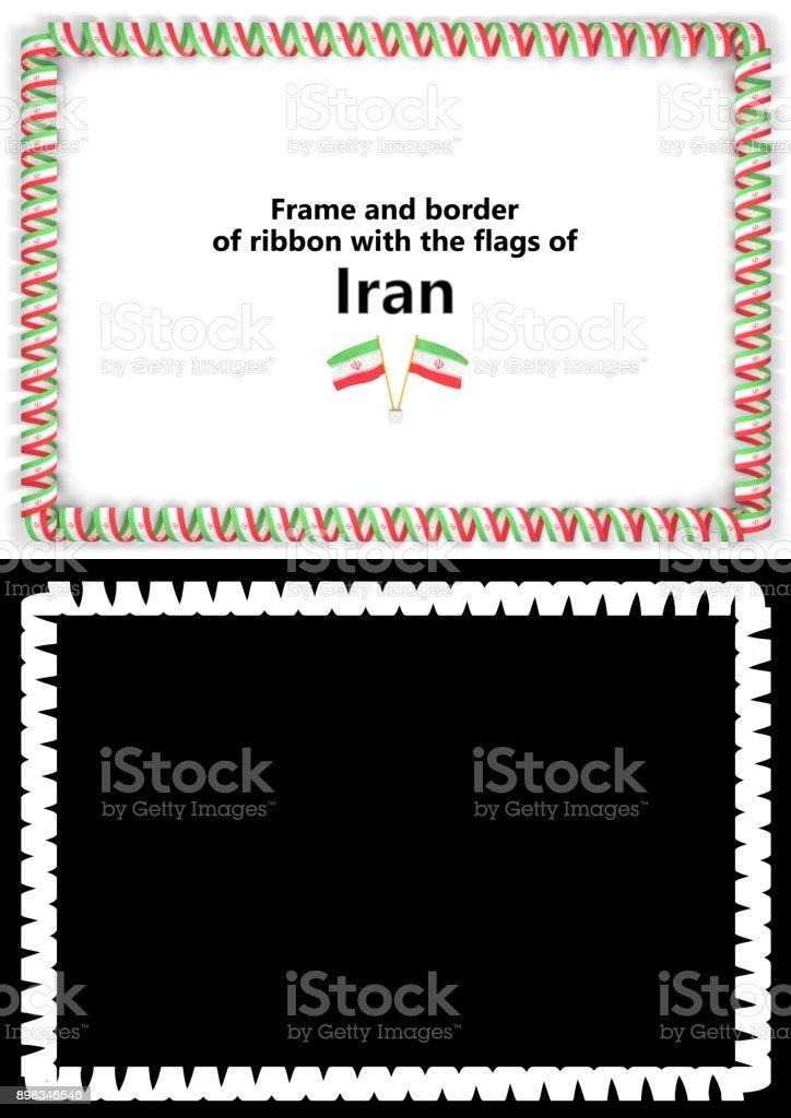 Rahmen Und Rand Des Bandes Mit Dem Iranflag Für Zertifikate Diplome ...