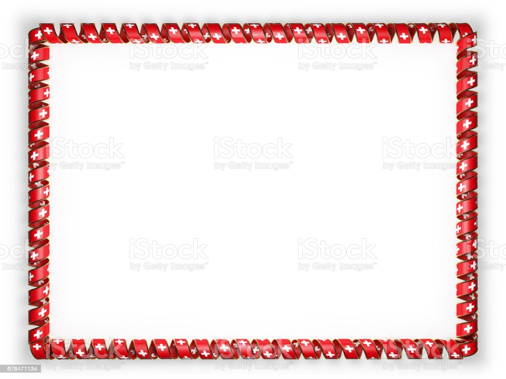 Frame and border of ribbon with the Switzerland flag, edging from the golden rope. 3d illustration royalty-free stock photo