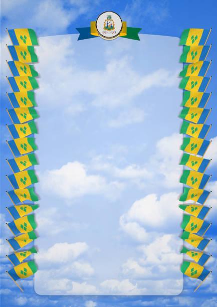 rahmen und rand mit flagge und wappen von st. vincent und die grenadinen. 3d illustration - st. vincent und die grenadinen stock-fotos und bilder