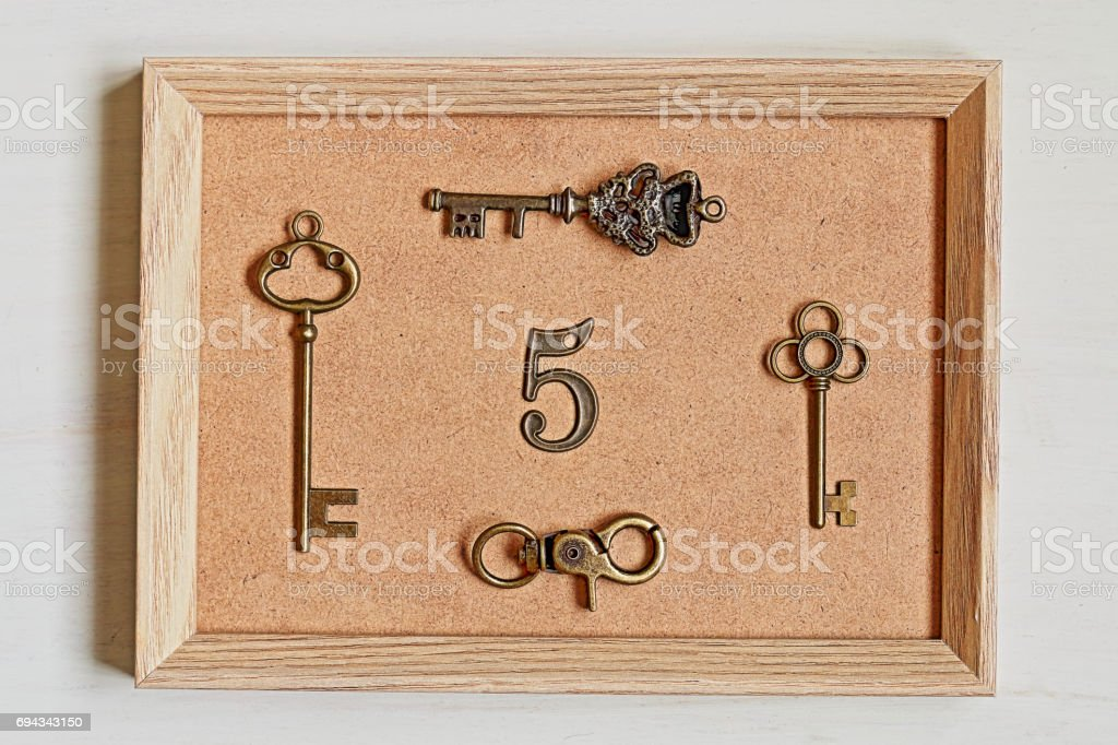 Frame and key and number stock photo