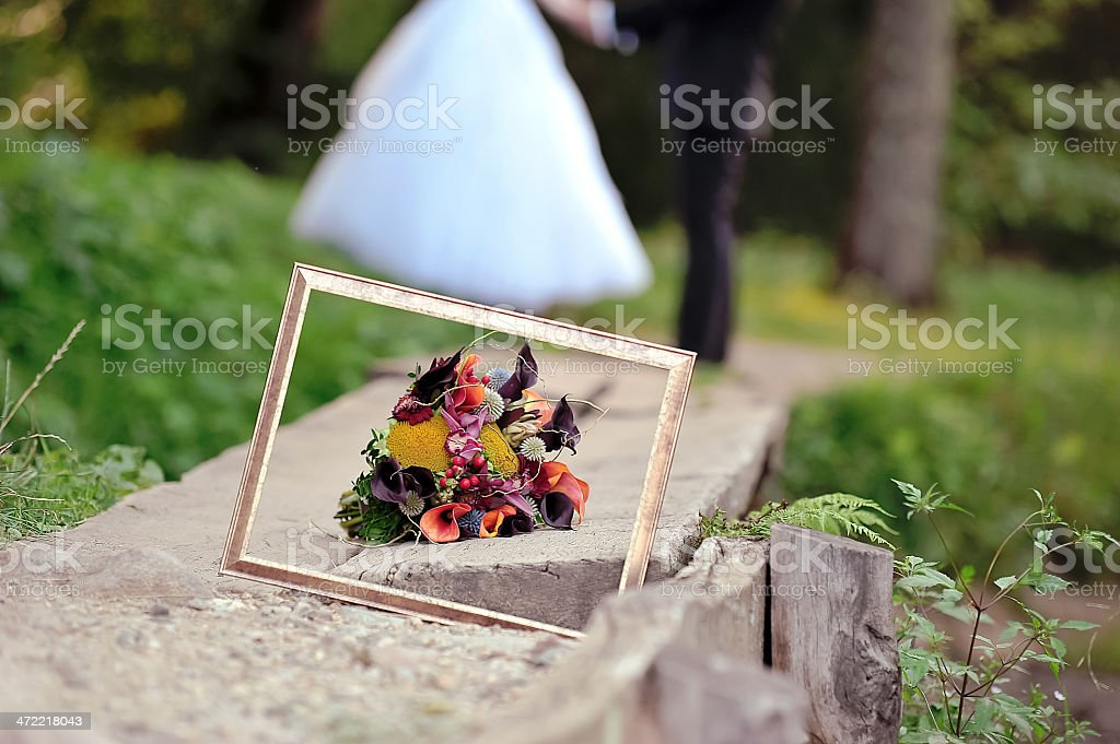 Frame And Wedding Bouquet Close Up Stock Photo More Pictures Of