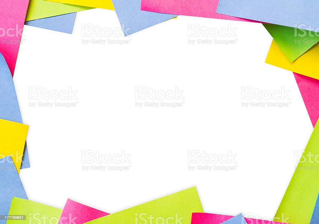 Frame background made from color notes royalty-free stock photo